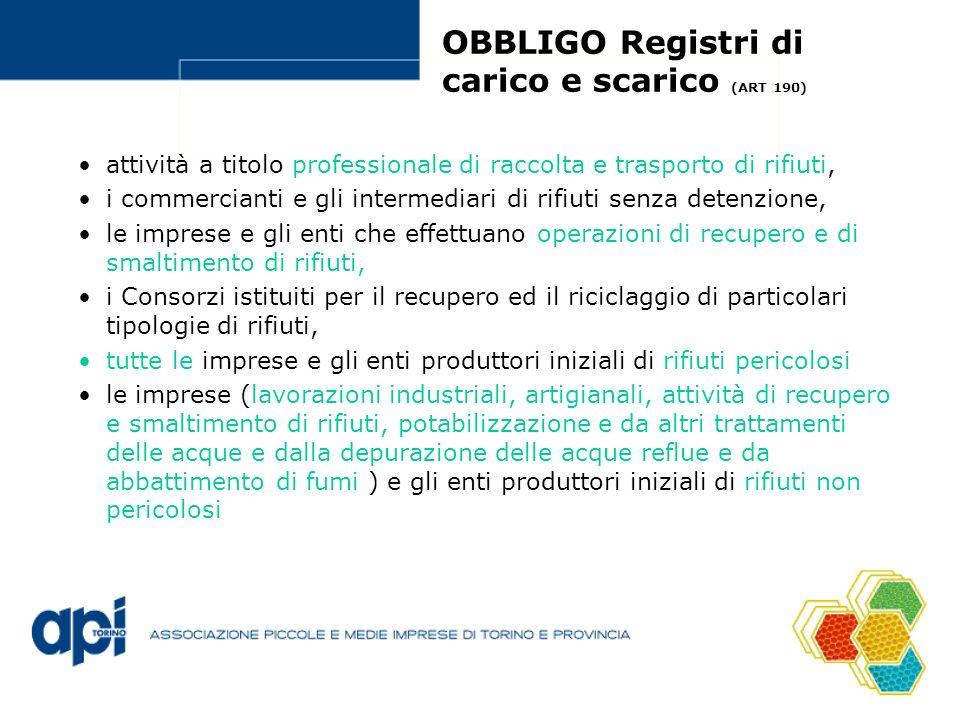 OBBLIGO Registri di carico e scarico (ART 190) attività a titolo professionale di raccolta e trasporto di rifiuti, i commercianti e gli intermediari di rifiuti senza detenzione, le imprese e gli enti che effettuano operazioni di recupero e di smaltimento di rifiuti, i Consorzi istituiti per il recupero ed il riciclaggio di particolari tipologie di rifiuti, tutte le imprese e gli enti produttori iniziali di rifiuti pericolosi le imprese (lavorazioni industriali, artigianali, attività di recupero e smaltimento di rifiuti, potabilizzazione e da altri trattamenti delle acque e dalla depurazione delle acque reflue e da abbattimento di fumi ) e gli enti produttori iniziali di rifiuti non pericolosi
