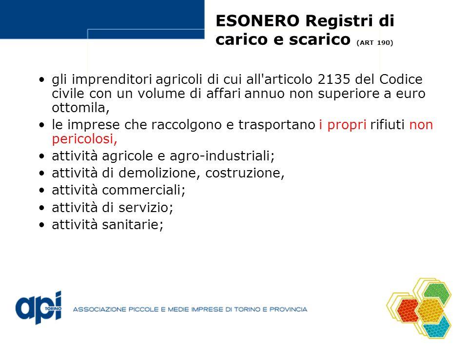 ESONERO Registri di carico e scarico (ART 190) gli imprenditori agricoli di cui all'articolo 2135 del Codice civile con un volume di affari annuo non