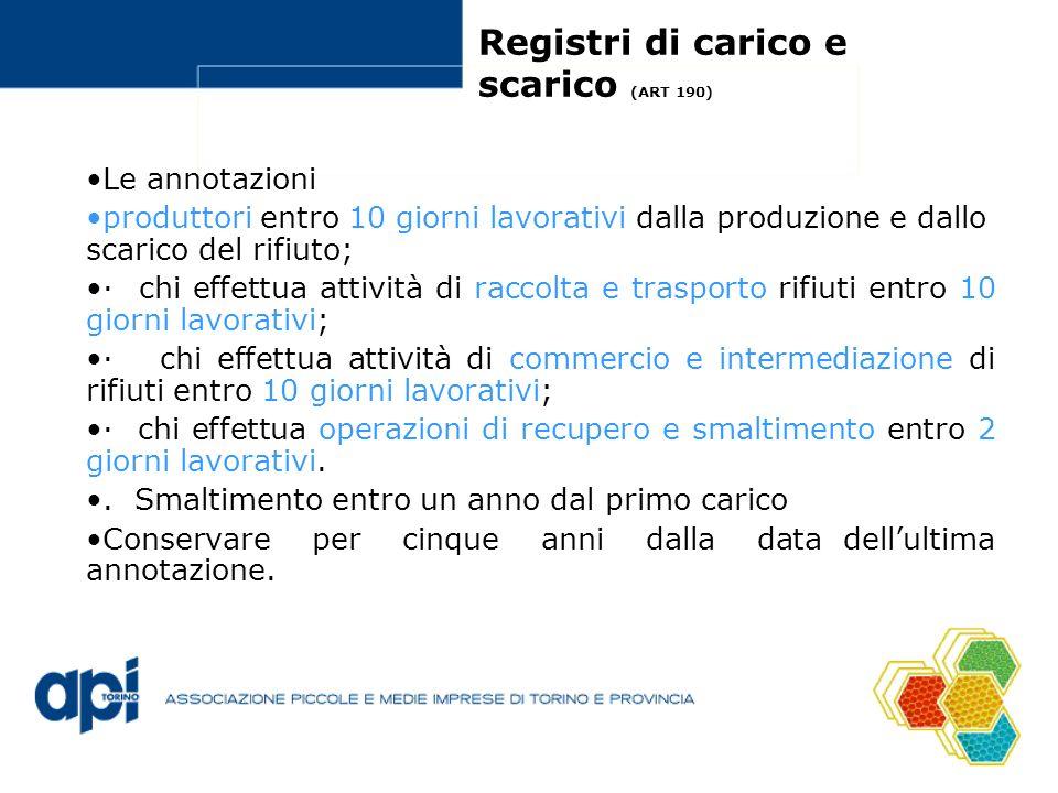 Registri di carico e scarico (ART 190) Le annotazioni produttori entro 10 giorni lavorativi dalla produzione e dallo scarico del rifiuto; · chi effett
