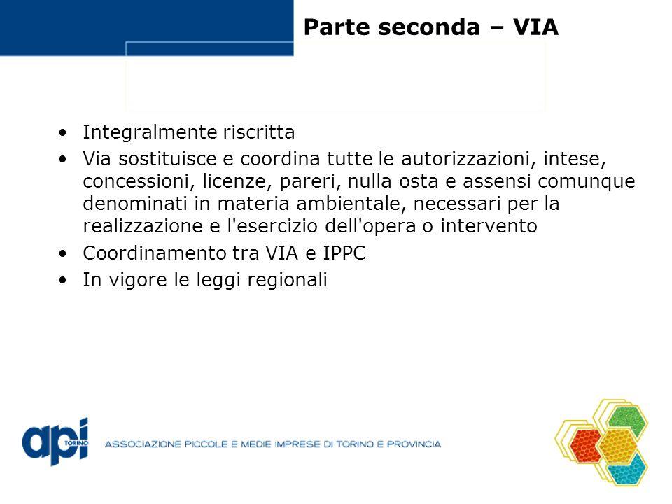 Parte seconda – VIA Integralmente riscritta Via sostituisce e coordina tutte le autorizzazioni, intese, concessioni, licenze, pareri, nulla osta e ass