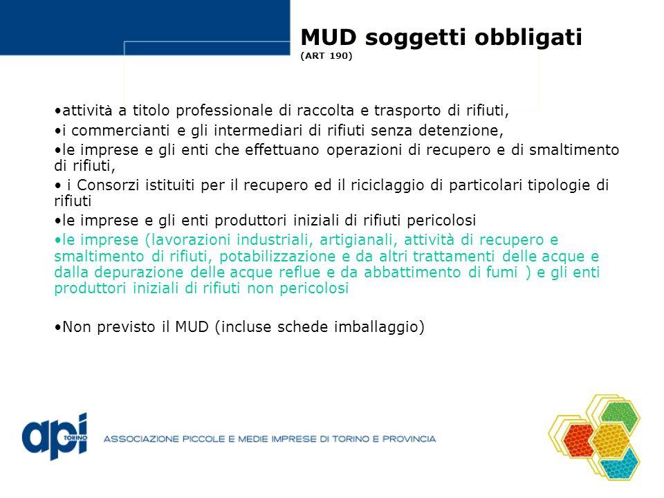 MUD soggetti obbligati (ART 190) attivit à a titolo professionale di raccolta e trasporto di rifiuti, i commercianti e gli intermediari di rifiuti sen