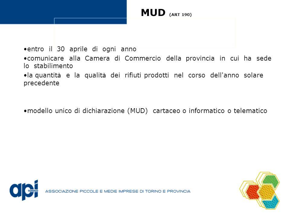 MUD (ART 190) entro il 30 aprile di ogni anno comunicare alla Camera di Commercio della provincia in cui ha sede lo stabilimento la quantit à e la qualit à dei rifiuti prodotti nel corso dell anno solare precedente modello unico di dichiarazione (MUD) cartaceo o informatico o telematico