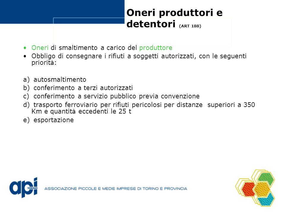 Oneri produttori e detentori (ART 188) Oneri di smaltimento a carico del produttore Obbligo di consegnare i rifiuti a soggetti autorizzati, con le seg