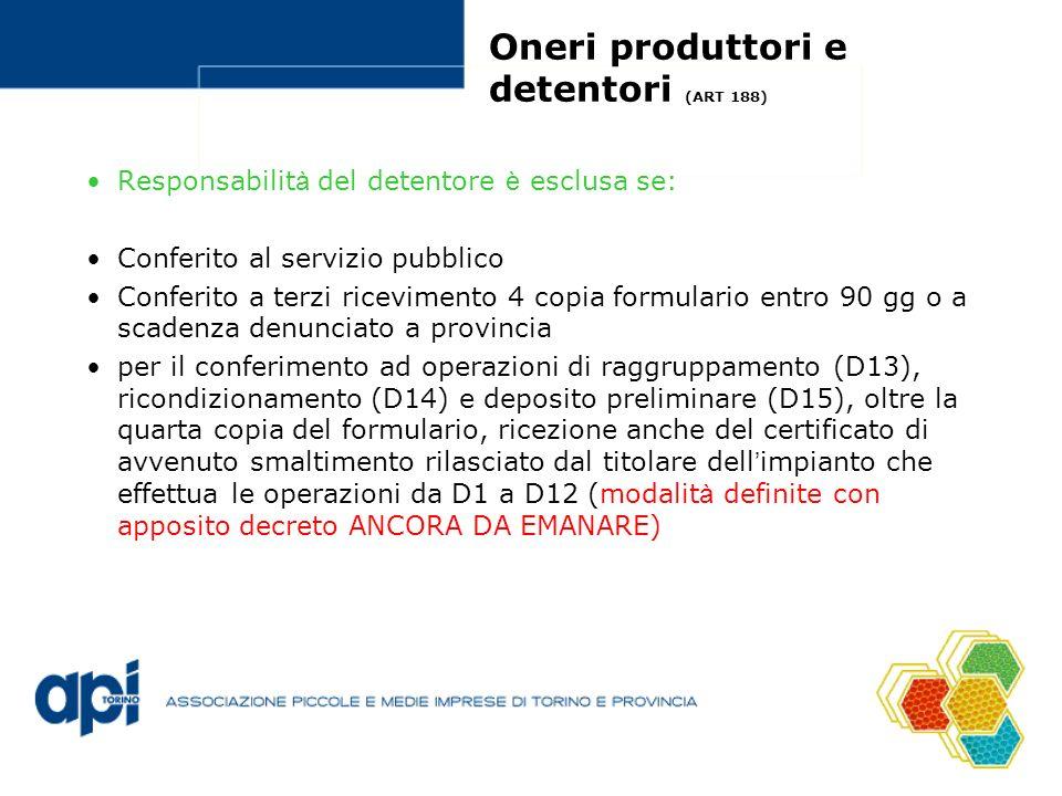 Oneri produttori e detentori (ART 188) Responsabilit à del detentore è esclusa se: Conferito al servizio pubblico Conferito a terzi ricevimento 4 copi
