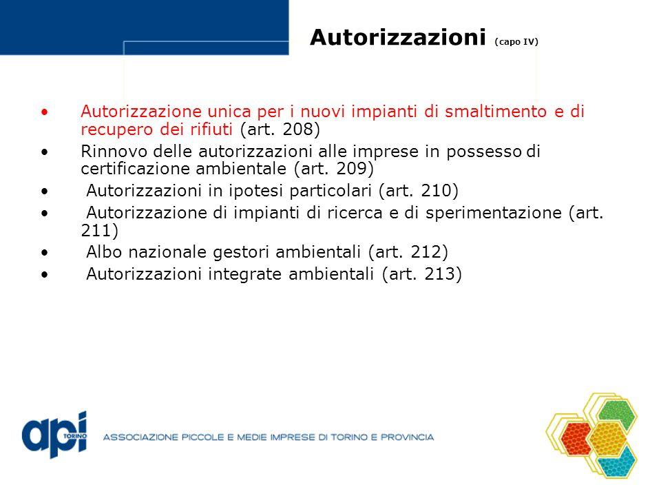 Autorizzazioni (capo IV) Autorizzazione unica per i nuovi impianti di smaltimento e di recupero dei rifiuti (art. 208) Rinnovo delle autorizzazioni al