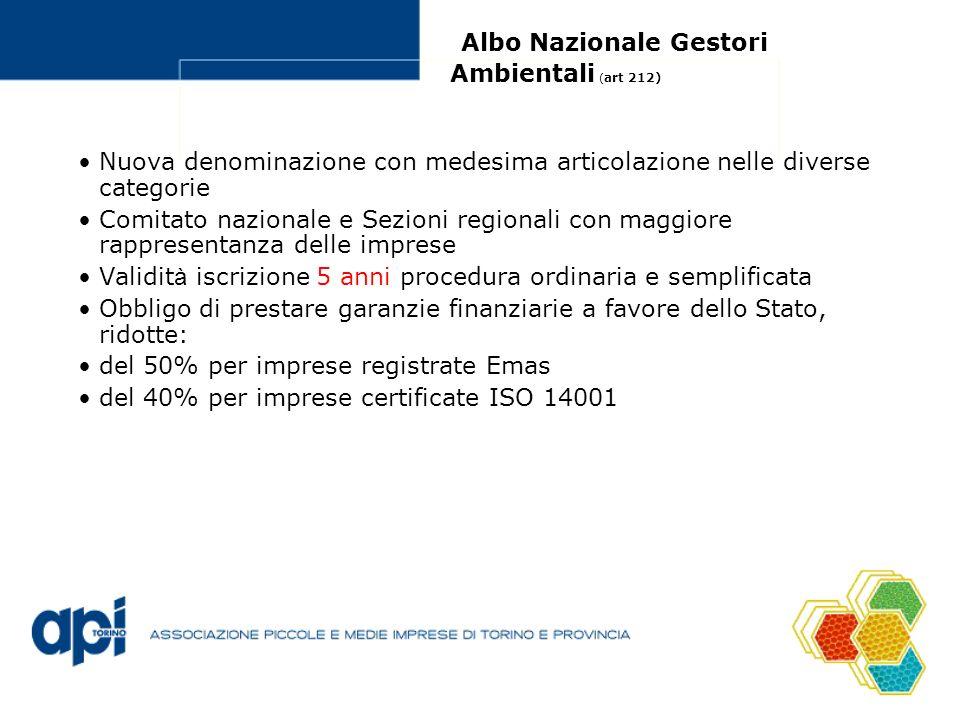 Albo Nazionale Gestori Ambientali ( art 212) Nuova denominazione con medesima articolazione nelle diverse categorie Comitato nazionale e Sezioni regio