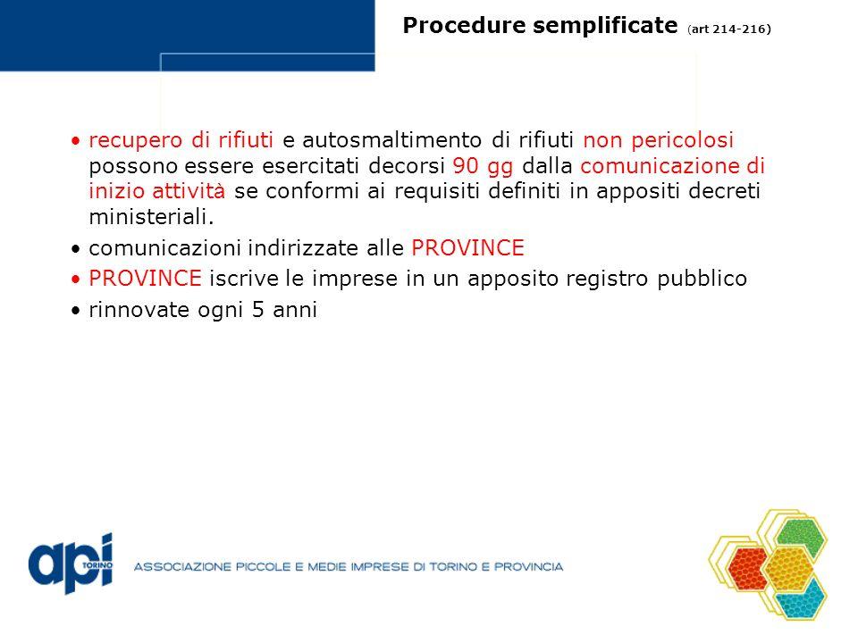 Procedure semplificate ( art 214-216) recupero di rifiuti e autosmaltimento di rifiuti non pericolosi possono essere esercitati decorsi 90 gg dalla co