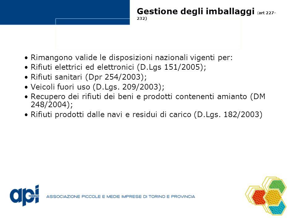 Gestione degli imballaggi ( art 227- 232) Rimangono valide le disposizioni nazionali vigenti per: Rifiuti elettrici ed elettronici (D.Lgs 151/2005); R