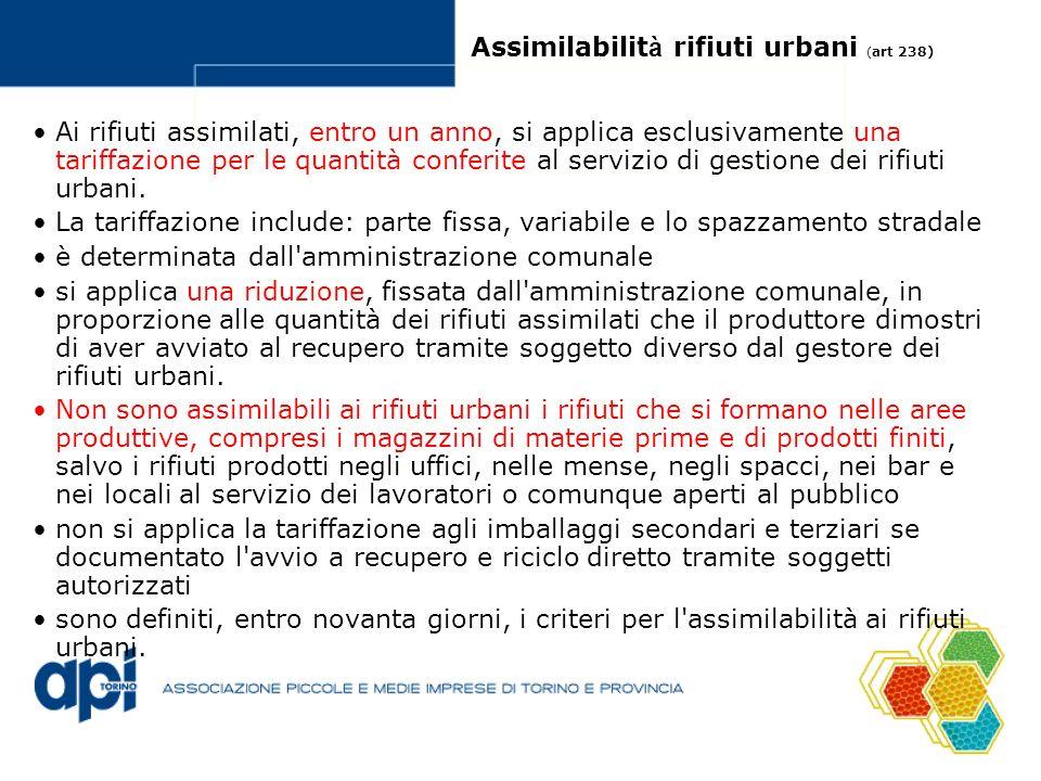 Assimilabilit à rifiuti urbani ( art 238) Ai rifiuti assimilati, entro un anno, si applica esclusivamente una tariffazione per le quantità conferite al servizio di gestione dei rifiuti urbani.