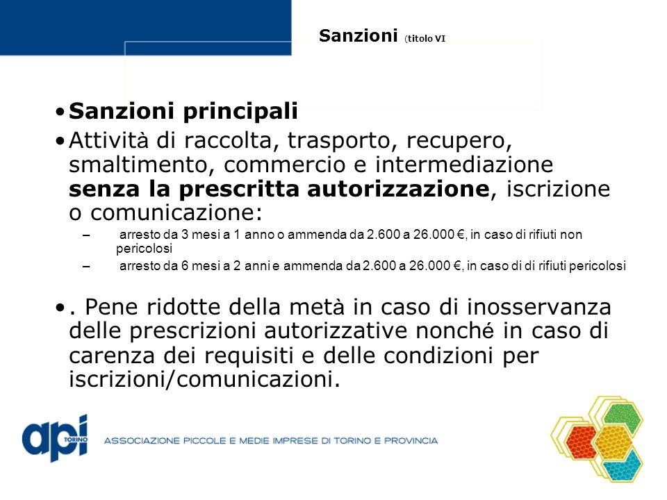 Sanzioni ( titolo VI Sanzioni principali Attivit à di raccolta, trasporto, recupero, smaltimento, commercio e intermediazione senza la prescritta auto