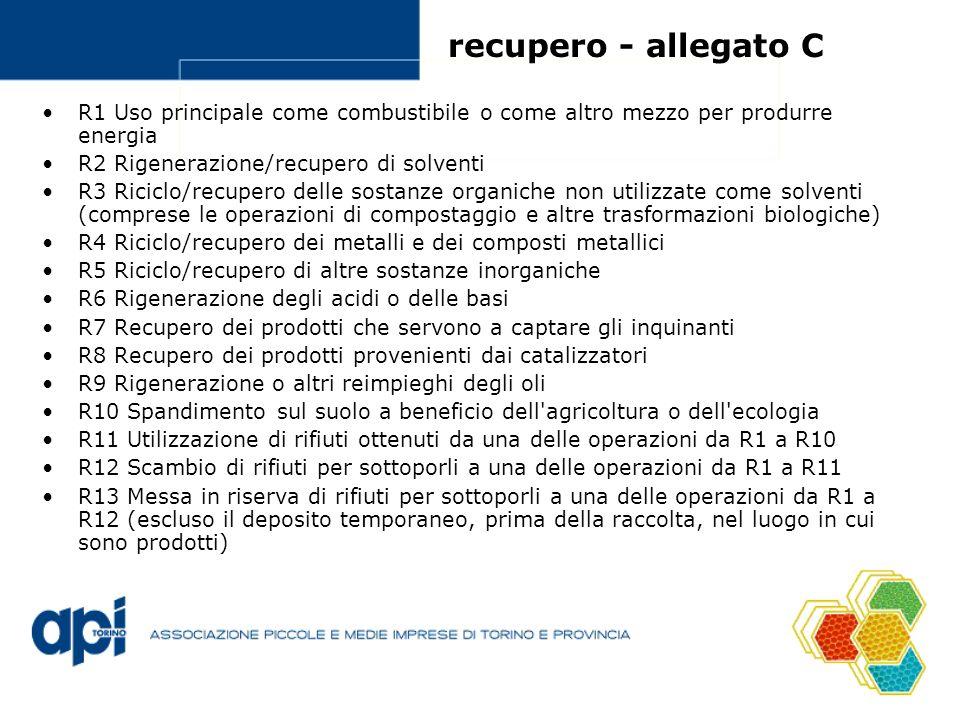 recupero - allegato C R1 Uso principale come combustibile o come altro mezzo per produrre energia R2 Rigenerazione/recupero di solventi R3 Riciclo/recupero delle sostanze organiche non utilizzate come solventi (comprese le operazioni di compostaggio e altre trasformazioni biologiche) R4 Riciclo/recupero dei metalli e dei composti metallici R5 Riciclo/recupero di altre sostanze inorganiche R6 Rigenerazione degli acidi o delle basi R7 Recupero dei prodotti che servono a captare gli inquinanti R8 Recupero dei prodotti provenienti dai catalizzatori R9 Rigenerazione o altri reimpieghi degli oli R10 Spandimento sul suolo a beneficio dell agricoltura o dell ecologia R11 Utilizzazione di rifiuti ottenuti da una delle operazioni da R1 a R10 R12 Scambio di rifiuti per sottoporli a una delle operazioni da R1 a R11 R13 Messa in riserva di rifiuti per sottoporli a una delle operazioni da R1 a R12 (escluso il deposito temporaneo, prima della raccolta, nel luogo in cui sono prodotti)