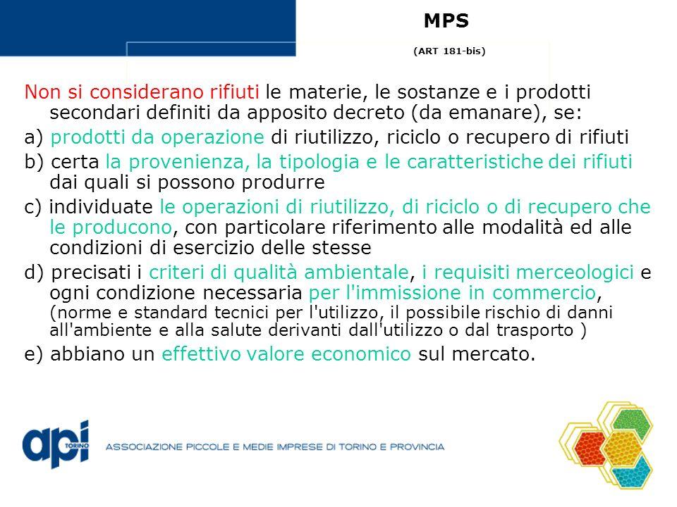 Non si considerano rifiuti le materie, le sostanze e i prodotti secondari definiti da apposito decreto (da emanare), se: a) prodotti da operazione di
