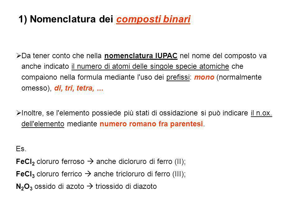 Da tener conto che nella nomenclatura IUPAC nel nome del composto va anche indicato il numero di atomi delle singole specie atomiche che compaiono nel