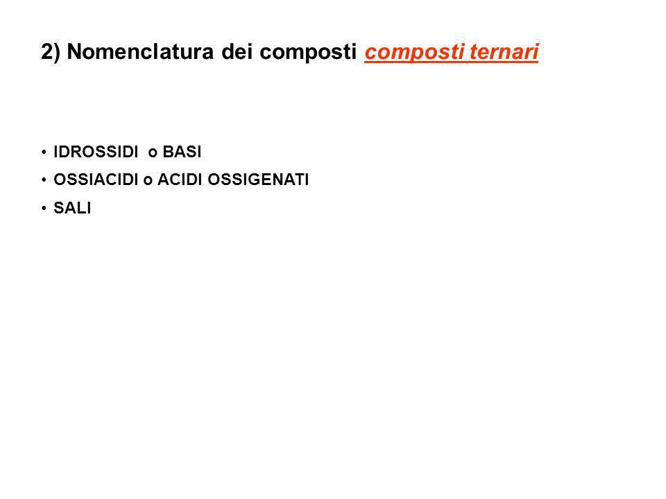 IDROSSIDI o BASI OSSIACIDI o ACIDI OSSIGENATI SALI 2) Nomenclatura dei composti composti ternari
