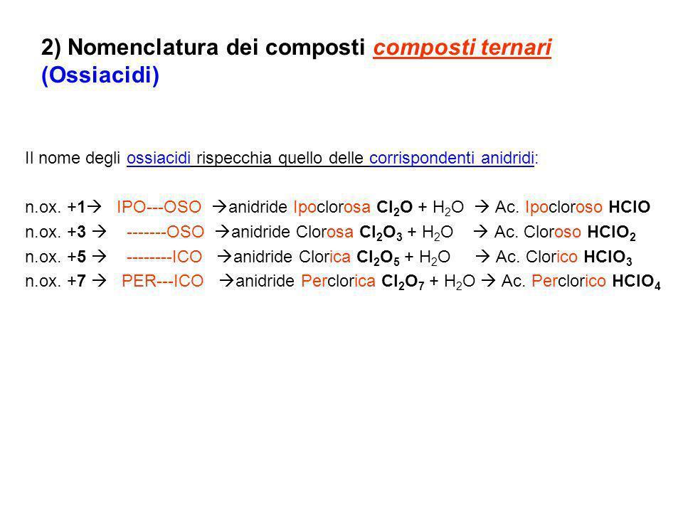 2) Nomenclatura dei composti composti ternari (Ossiacidi) Il nome degli ossiacidi rispecchia quello delle corrispondenti anidridi: n.ox. +1 IPO---OSO