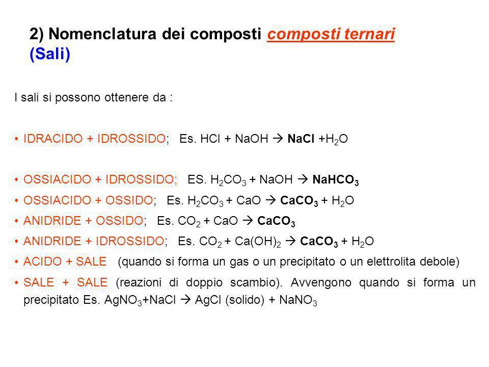 I sali si possono ottenere da : IDRACIDO + IDROSSIDO; Es.