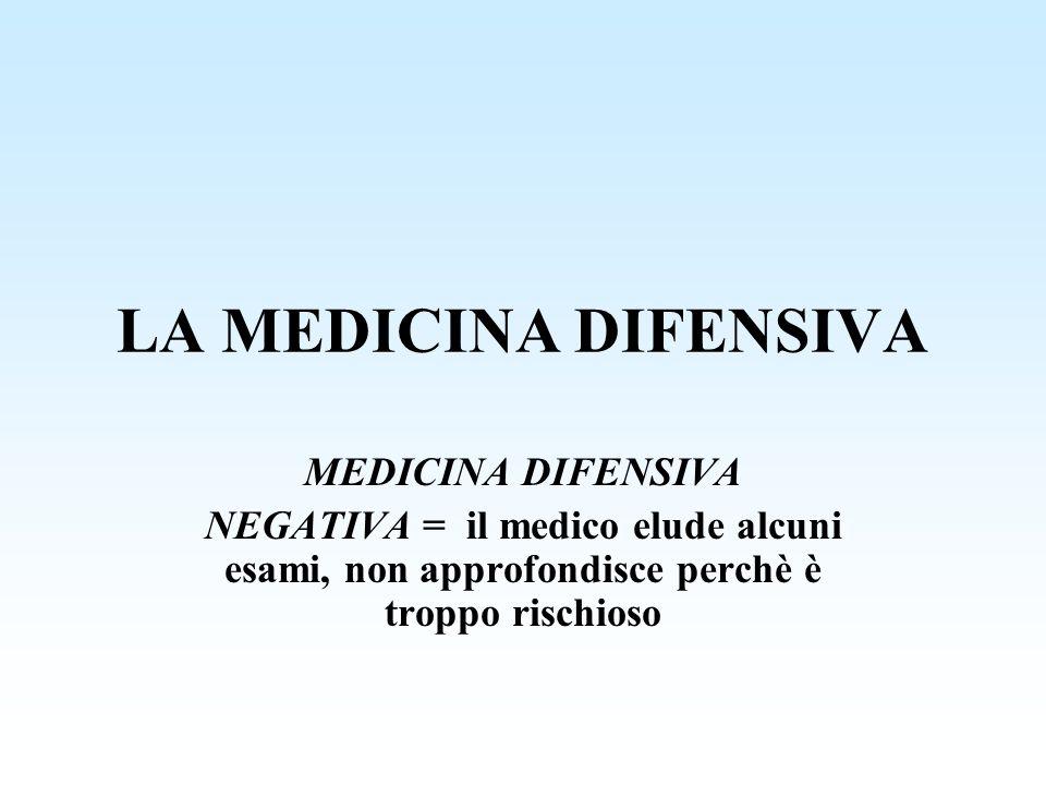 LA MEDICINA DIFENSIVA MEDICINA DIFENSIVA NEGATIVA = il medico elude alcuni esami, non approfondisce perchè è troppo rischioso