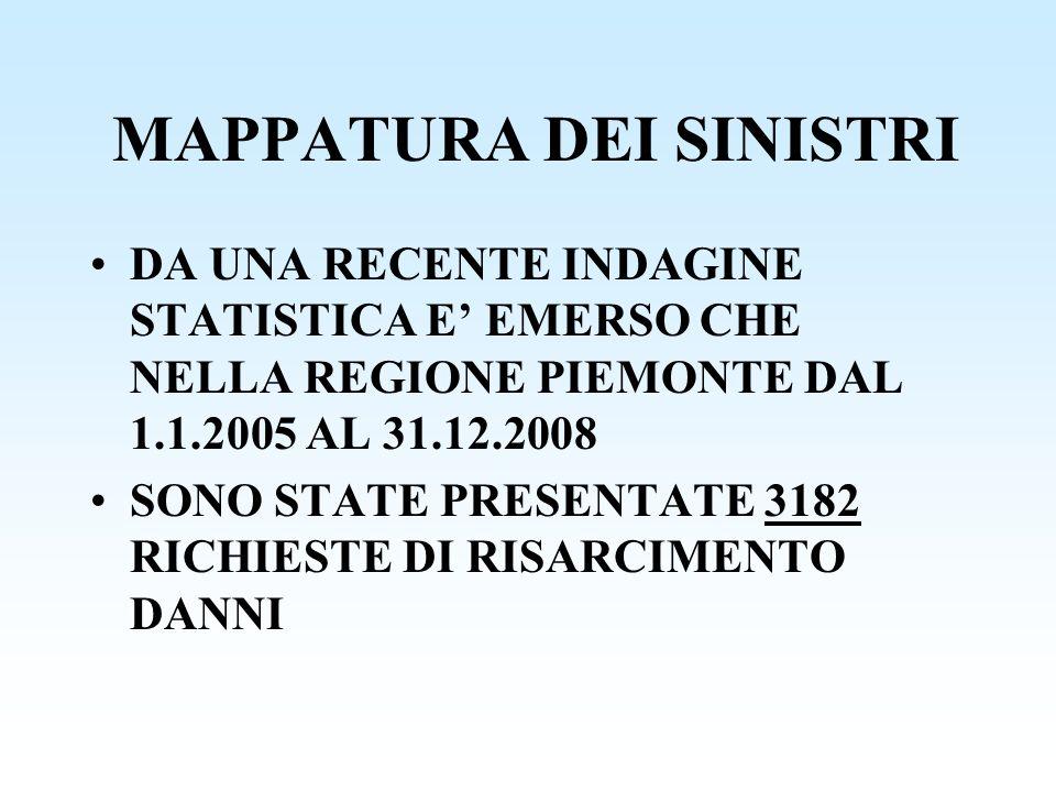 MAPPATURA DEI SINISTRI DA UNA RECENTE INDAGINE STATISTICA E EMERSO CHE NELLA REGIONE PIEMONTE DAL 1.1.2005 AL 31.12.2008 SONO STATE PRESENTATE 3182 RI