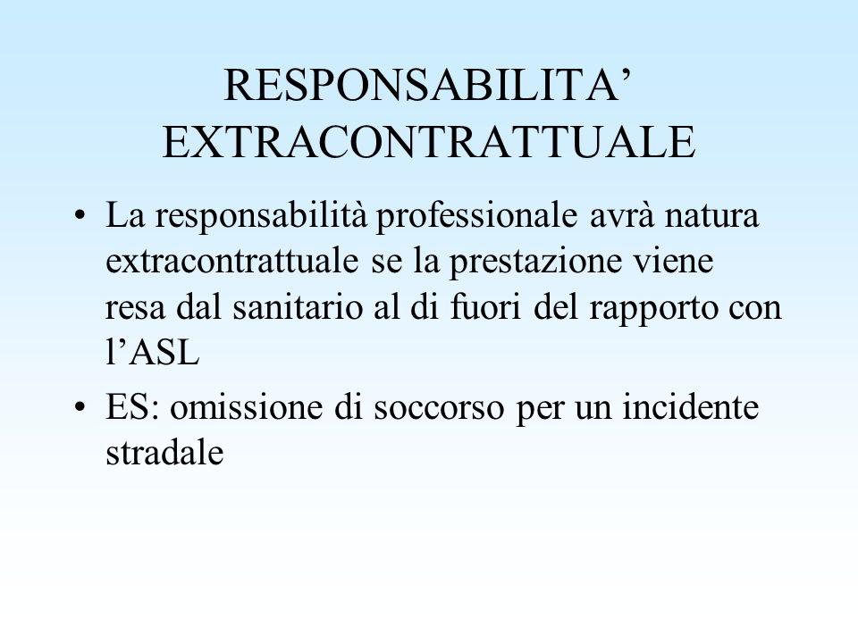 RESPONSABILITA EXTRACONTRATTUALE La responsabilità professionale avrà natura extracontrattuale se la prestazione viene resa dal sanitario al di fuori