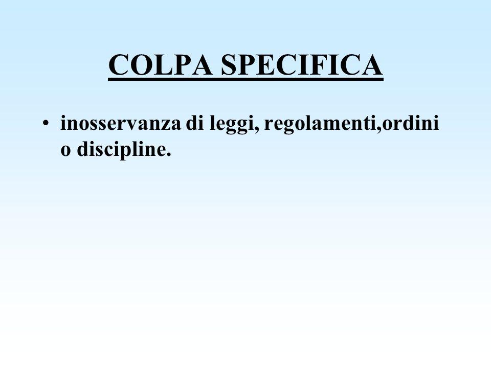 COLPA SPECIFICA inosservanza di leggi, regolamenti,ordini o discipline.