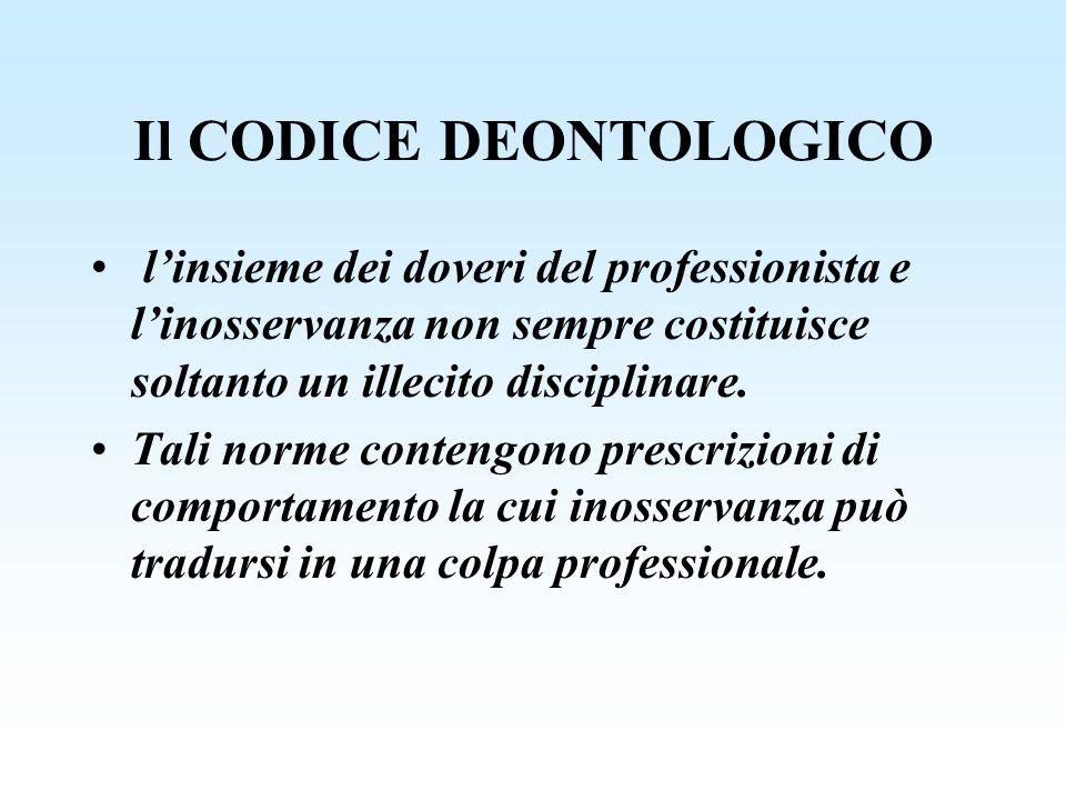 Il CODICE DEONTOLOGICO linsieme dei doveri del professionista e linosservanza non sempre costituisce soltanto un illecito disciplinare. Tali norme con