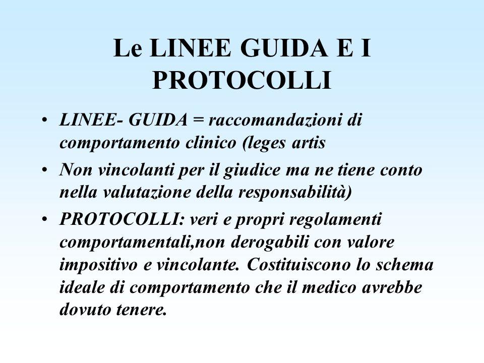 Le LINEE GUIDA E I PROTOCOLLI LINEE- GUIDA = raccomandazioni di comportamento clinico (leges artis Non vincolanti per il giudice ma ne tiene conto nel