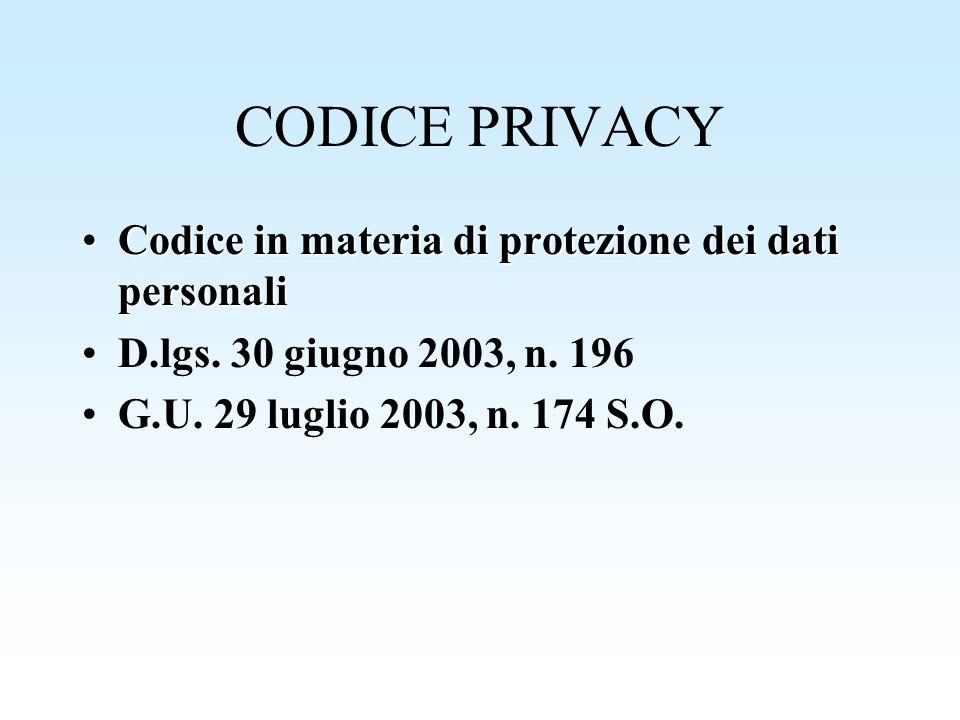 CODICE PRIVACY Codice in materia di protezione dei dati personaliCodice in materia di protezione dei dati personali D.lgs. 30 giugno 2003, n. 196 G.U.
