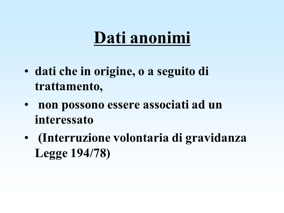 Dati anonimi dati che in origine, o a seguito di trattamento, non possono essere associati ad un interessato (Interruzione volontaria di gravidanza Le