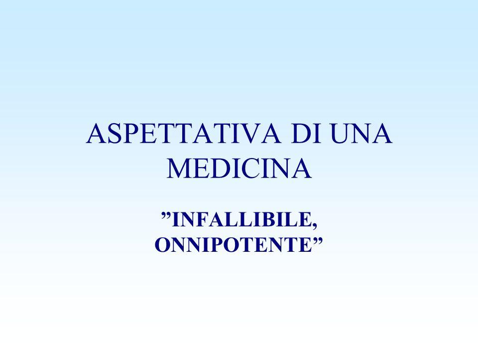 ASPETTATIVA DI UNA MEDICINA INFALLIBILE, ONNIPOTENTE