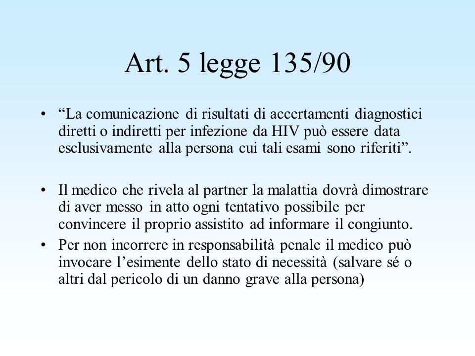 Art. 5 legge 135/90 La comunicazione di risultati di accertamenti diagnostici diretti o indiretti per infezione da HIV può essere data esclusivamente