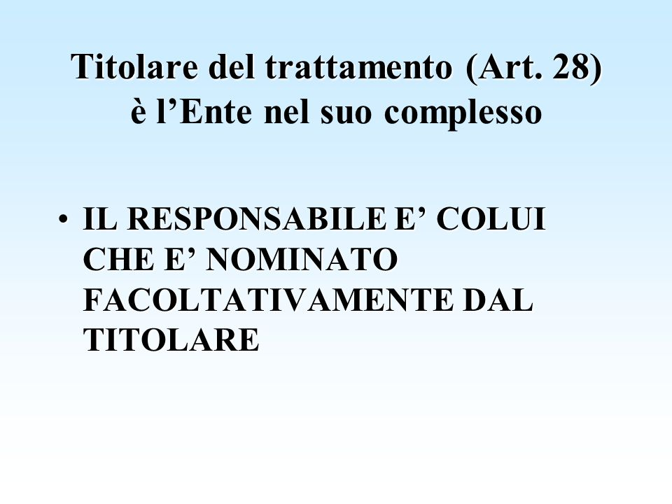 Titolare del trattamento (Art. 28) Titolare del trattamento (Art. 28) è lEnte nel suo complesso IL RESPONSABILE E COLUI CHE E NOMINATO FACOLTATIVAMENT