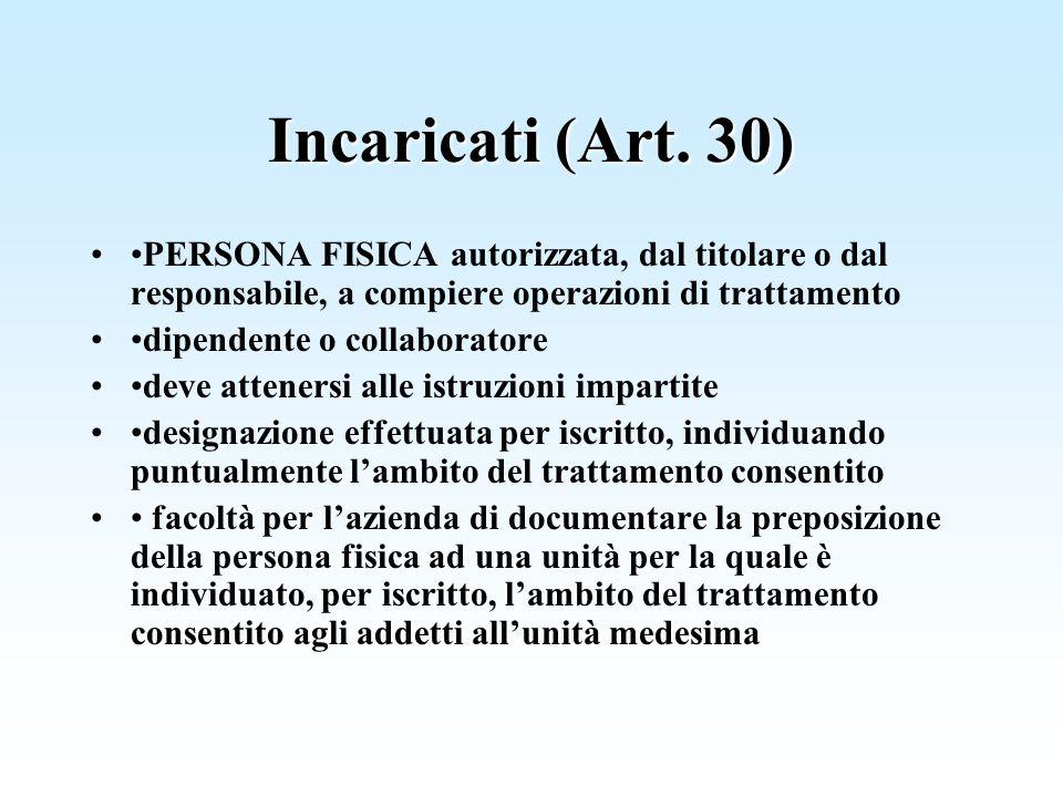 Incaricati (Art. 30) PERSONA FISICA autorizzata, dal titolare o dal responsabile, a compiere operazioni di trattamento dipendente o collaboratore deve