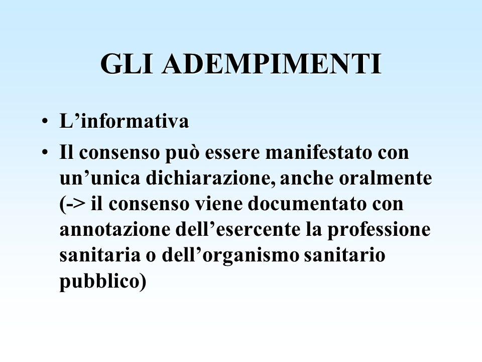 GLI ADEMPIMENTI LinformativaLinformativa Il consenso può essere manifestato con ununica dichiarazione, anche oralmente (-> il consenso viene documenta