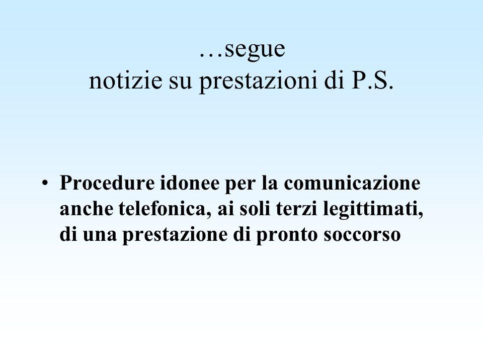…segue notizie su prestazioni di P.S. Procedure idonee per la comunicazione anche telefonica, ai soli terzi legittimati, di una prestazione di pronto