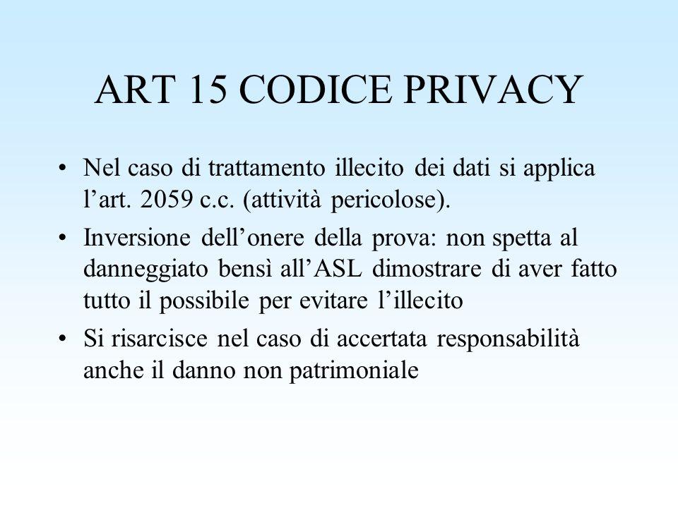 ART 15 CODICE PRIVACY Nel caso di trattamento illecito dei dati si applica lart. 2059 c.c. (attività pericolose). Inversione dellonere della prova: no