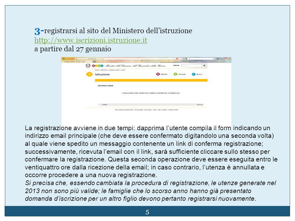 3- registrarsi al sito del Ministero dellistruzione http://www.iscrizioni.istruzione.it a partire dal 27 gennaio La registrazione avviene in due tempi