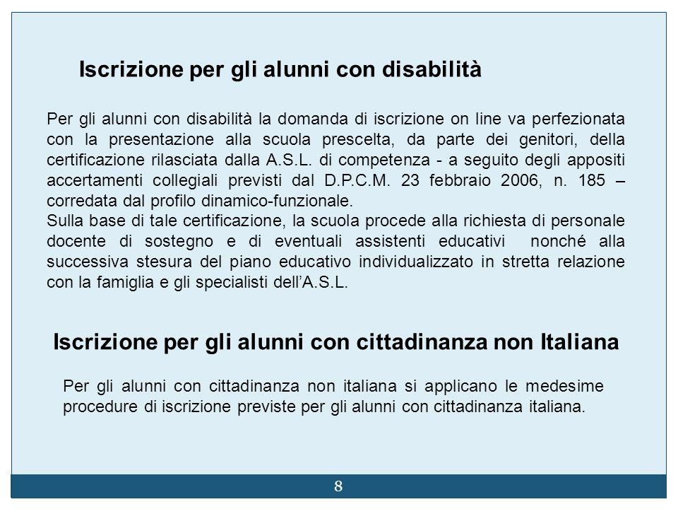 8 Iscrizione per gli alunni con disabilità Per gli alunni con disabilità la domanda di iscrizione on line va perfezionata con la presentazione alla scuola prescelta, da parte dei genitori, della certificazione rilasciata dalla A.S.L.