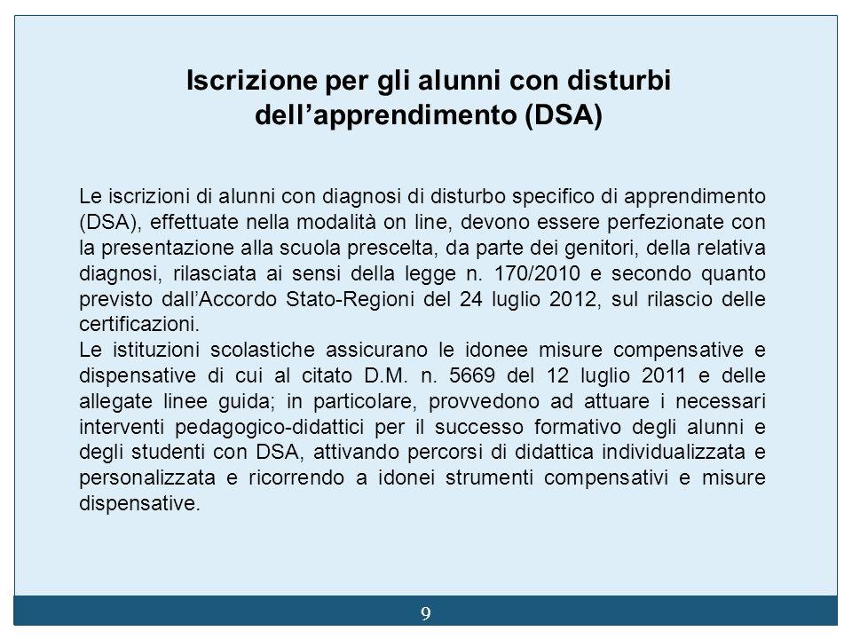 9 Iscrizione per gli alunni con disturbi dellapprendimento (DSA) Le iscrizioni di alunni con diagnosi di disturbo specifico di apprendimento (DSA), ef