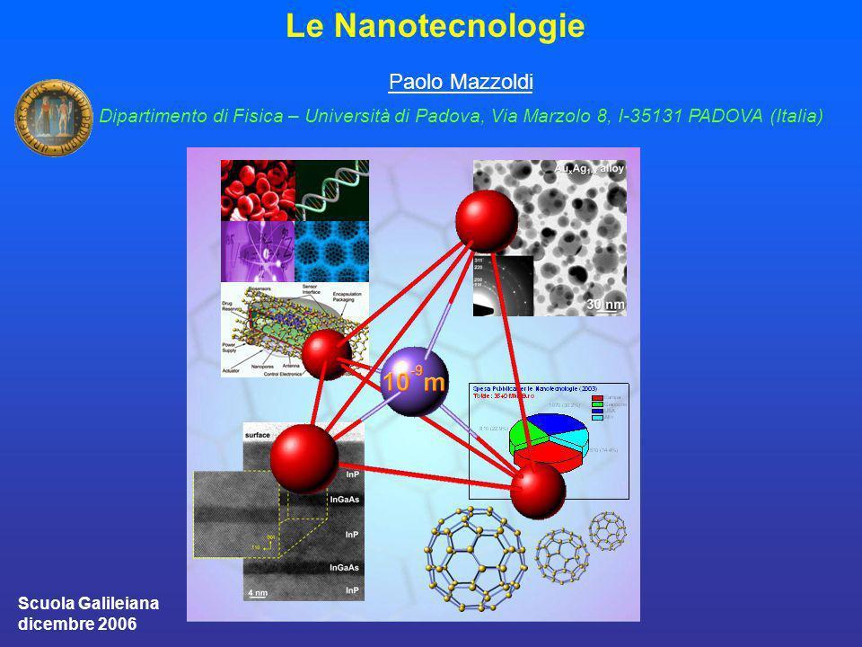 Le Nanotecnologie Paolo Mazzoldi Dipartimento di Fisica – Università di Padova, Via Marzolo 8, I-35131 PADOVA (Italia) Scuola Galileiana dicembre 2006