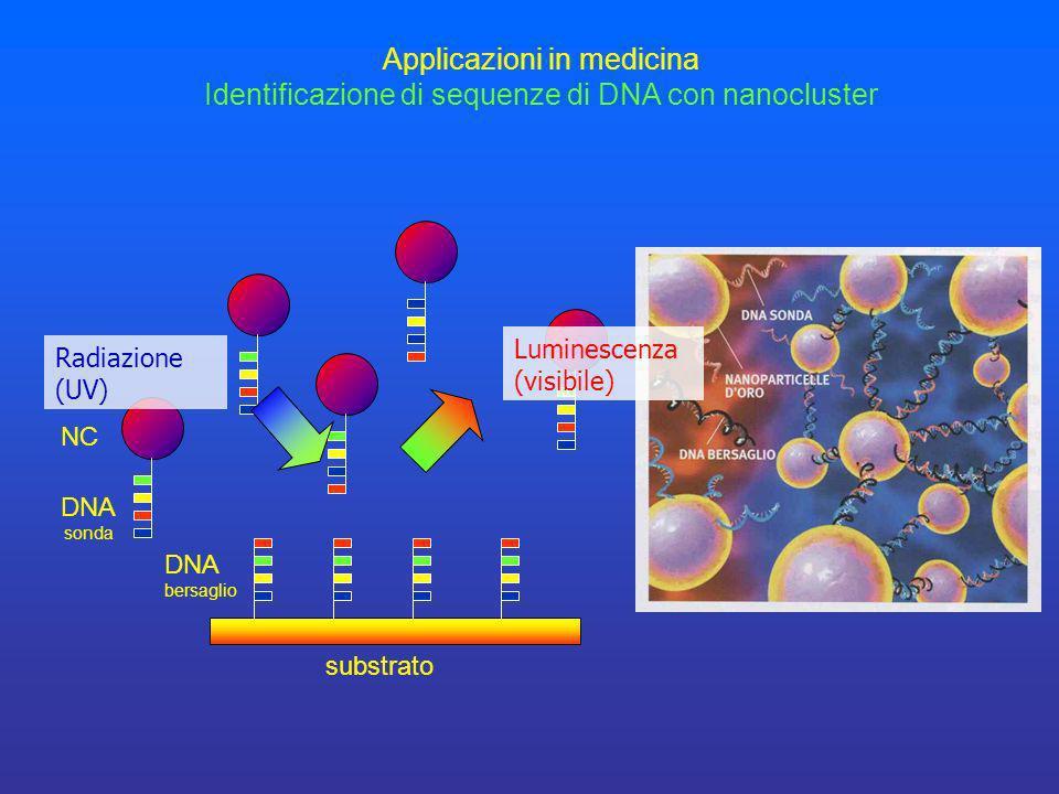 Luminescenza (visibile) DNA bersaglio substrato Applicazioni in medicina Identificazione di sequenze di DNA con nanocluster DNA sonda NC Radiazione (U