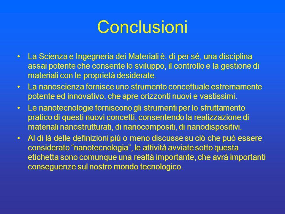 Conclusioni La Scienza e Ingegneria dei Materiali è, di per sé, una disciplina assai potente che consente lo sviluppo, il controllo e la gestione di m