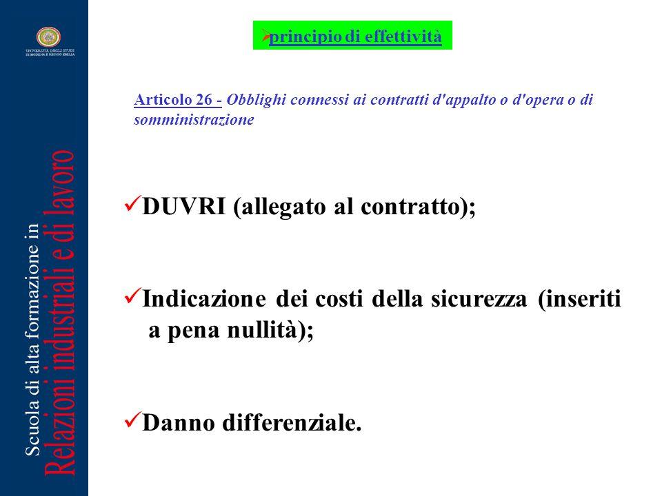Articolo 26 - Obblighi connessi ai contratti d'appalto o d'opera o di somministrazione DUVRI (allegato al contratto); Indicazione dei costi della sicu