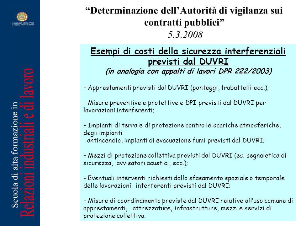 Determinazione dellAutorità di vigilanza sui contratti pubblici 5.3.2008 Esempi di costi della sicurezza interferenziali previsti dal DUVRI (in analog