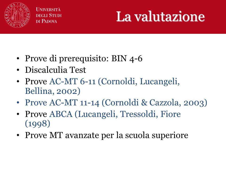 La valutazione Prove di prerequisito: BIN 4-6 Discalculia Test Prove AC-MT 6-11 (Cornoldi, Lucangeli, Bellina, 2002) Prove AC-MT 11-14 (Cornoldi & Caz