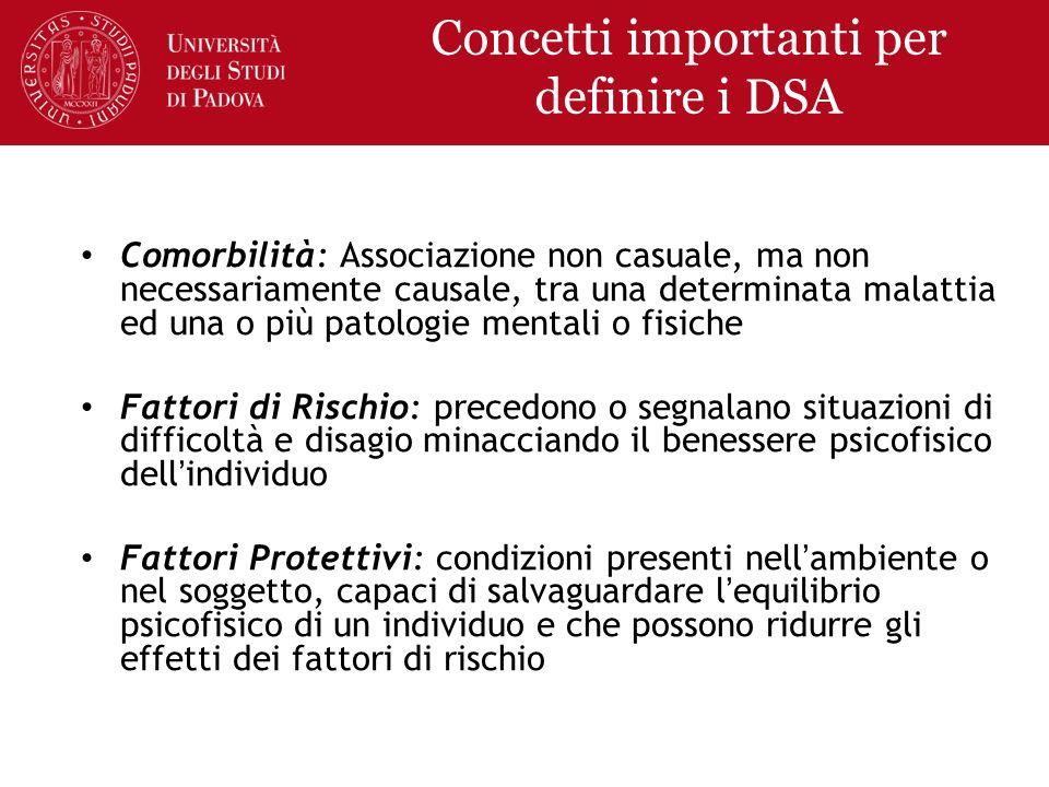 Concetti importanti per definire i DSA Comorbilità: Associazione non casuale, ma non necessariamente causale, tra una determinata malattia ed una o pi