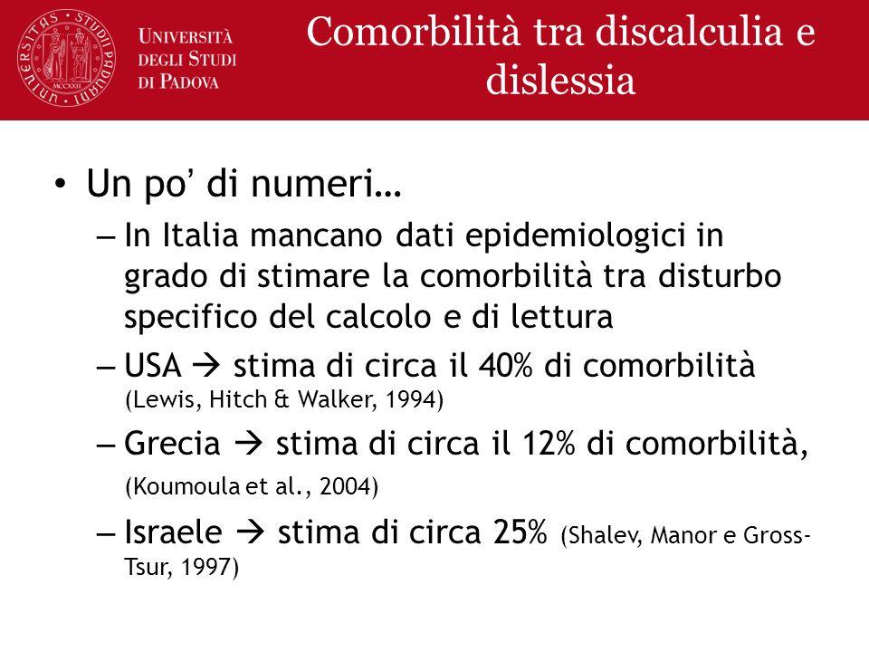 Comorbilità tra discalculia e dislessia Un po di numeri… – In Italia mancano dati epidemiologici in grado di stimare la comorbilità tra disturbo speci