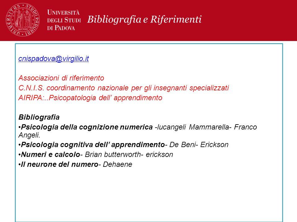 Bibliografia e Riferimenti cnispadova@virgilio.it Associazioni di riferimento C.N.I.S. coordinamento nazionale per gli insegnanti specializzati AIRIPA