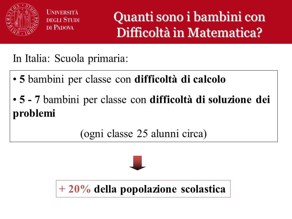 In Italia: Scuola primaria: + 20% della popolazione scolastica 5 bambini per classe con difficoltà di calcolo 5 - 7 bambini per classe con difficoltà