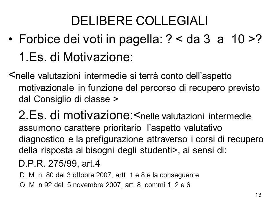13 DELIBERE COLLEGIALI Forbice dei voti in pagella: .