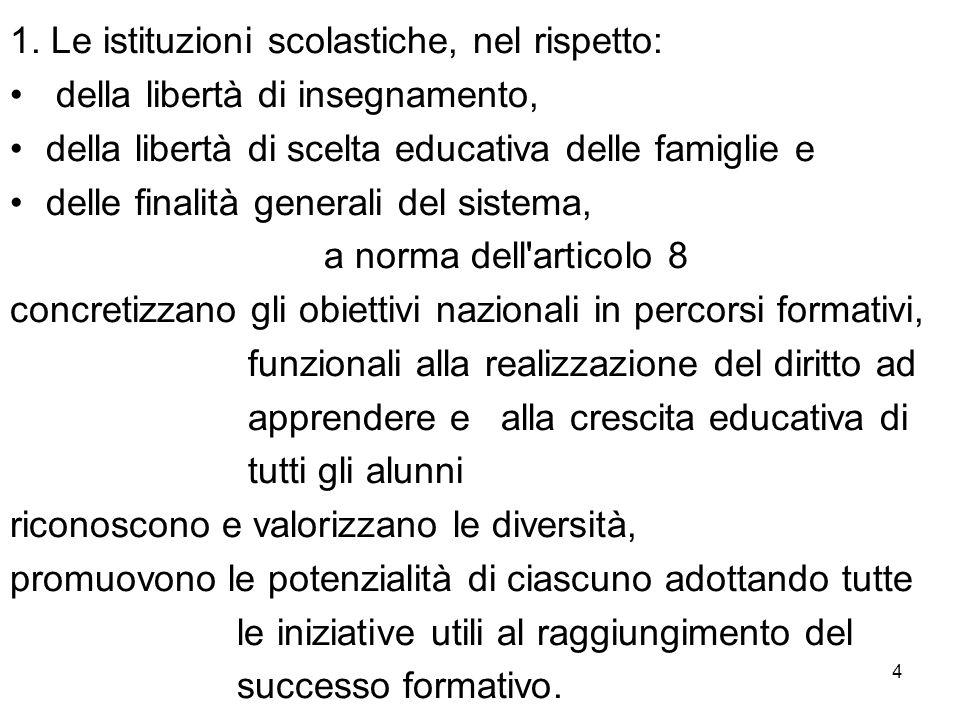 4 1. Le istituzioni scolastiche, nel rispetto: della libertà di insegnamento, della libertà di scelta educativa delle famiglie e delle finalità genera